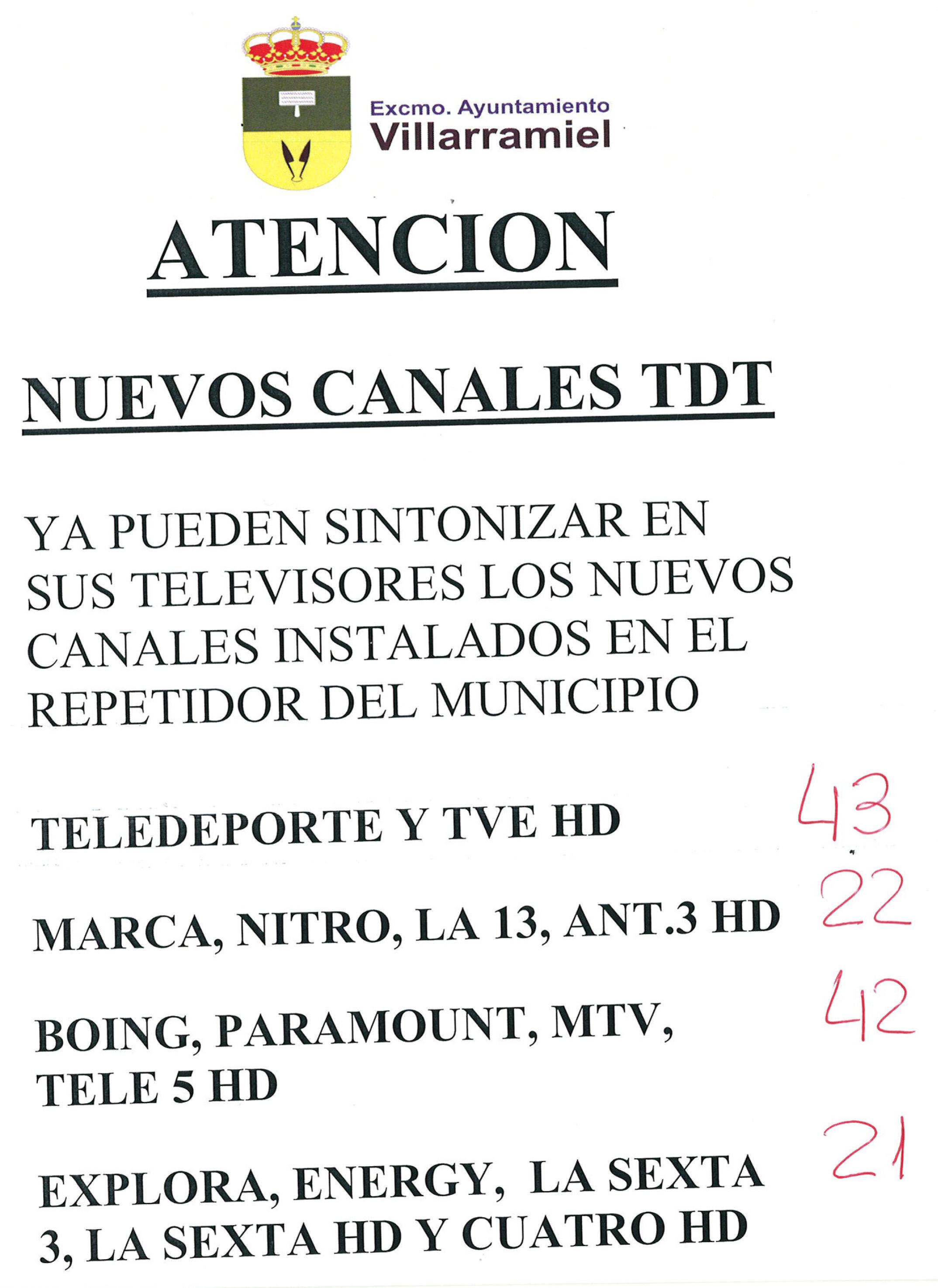 Nuevos canales TDT