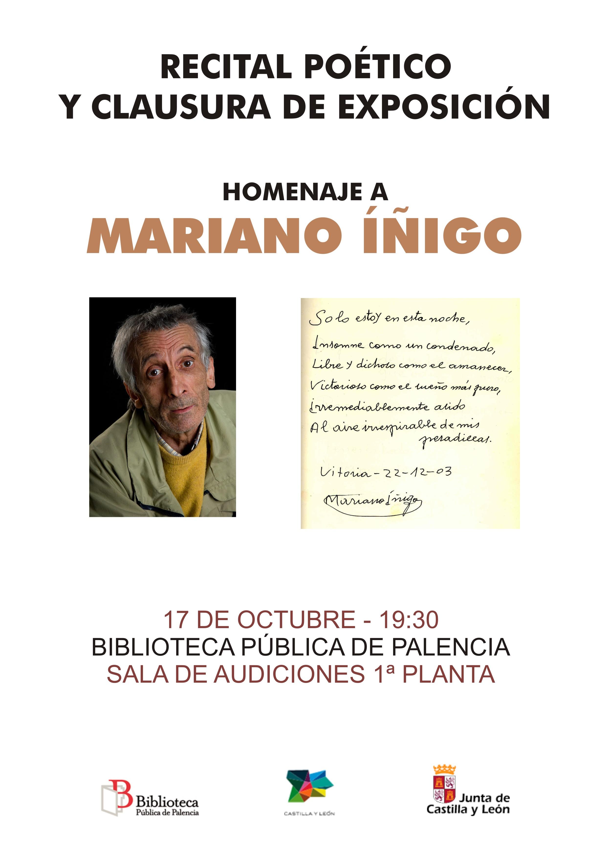 Recital poético y clausura de exposición homenaje a Mariano Íñigo