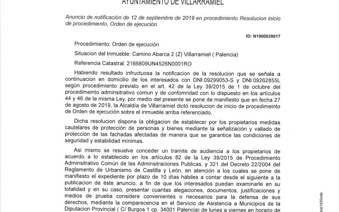 Anuncio de notificación de Orden de Ejecución Camino de Abarca 2 (Z)
